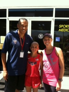 Picture of Ivonne, Coach Joaquim Cruz, and guide Anne Shadle.