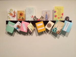 Picture of Shelf With Inspirational cards, notes, and E-mail msgs.
